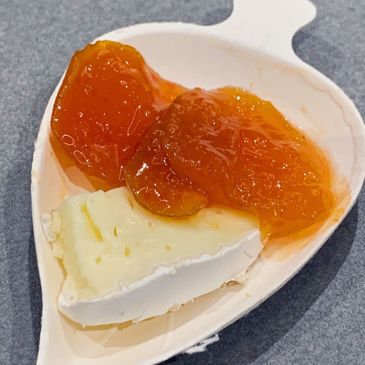 apricot peperoncino spicy jam on soft cheese